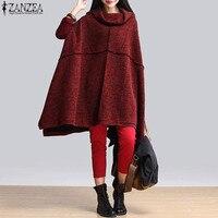 ZANZEA Oversized Autumn Turtleneck Batwing Sleeve Loose Sweatshirt Cape Women Casual Solid Poncho Irregular Hem Jacket