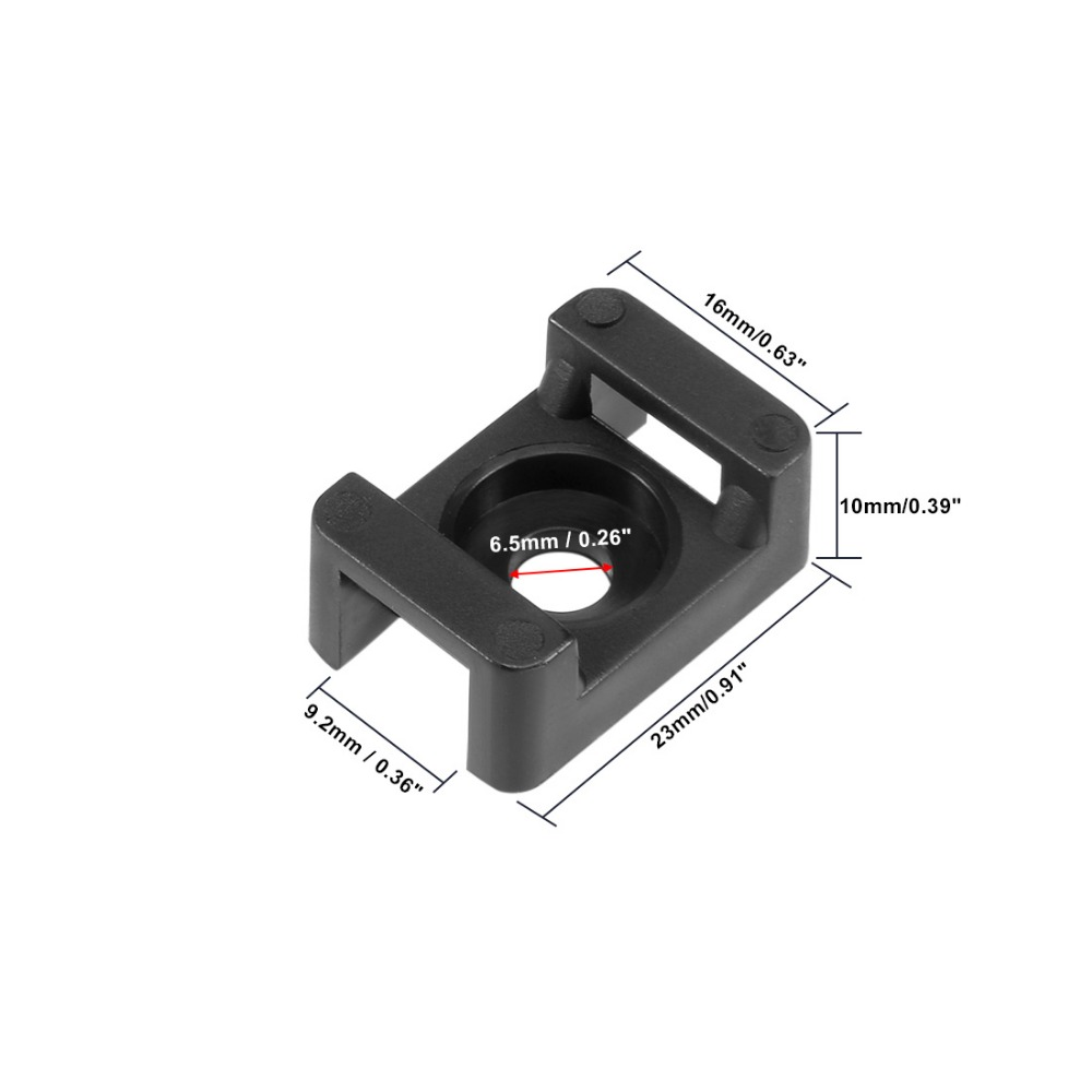 uxcell Cable Tie Mount Base Saddle Type Wire Holder Nylon 9.2mm Hole Width Black 90Pcs