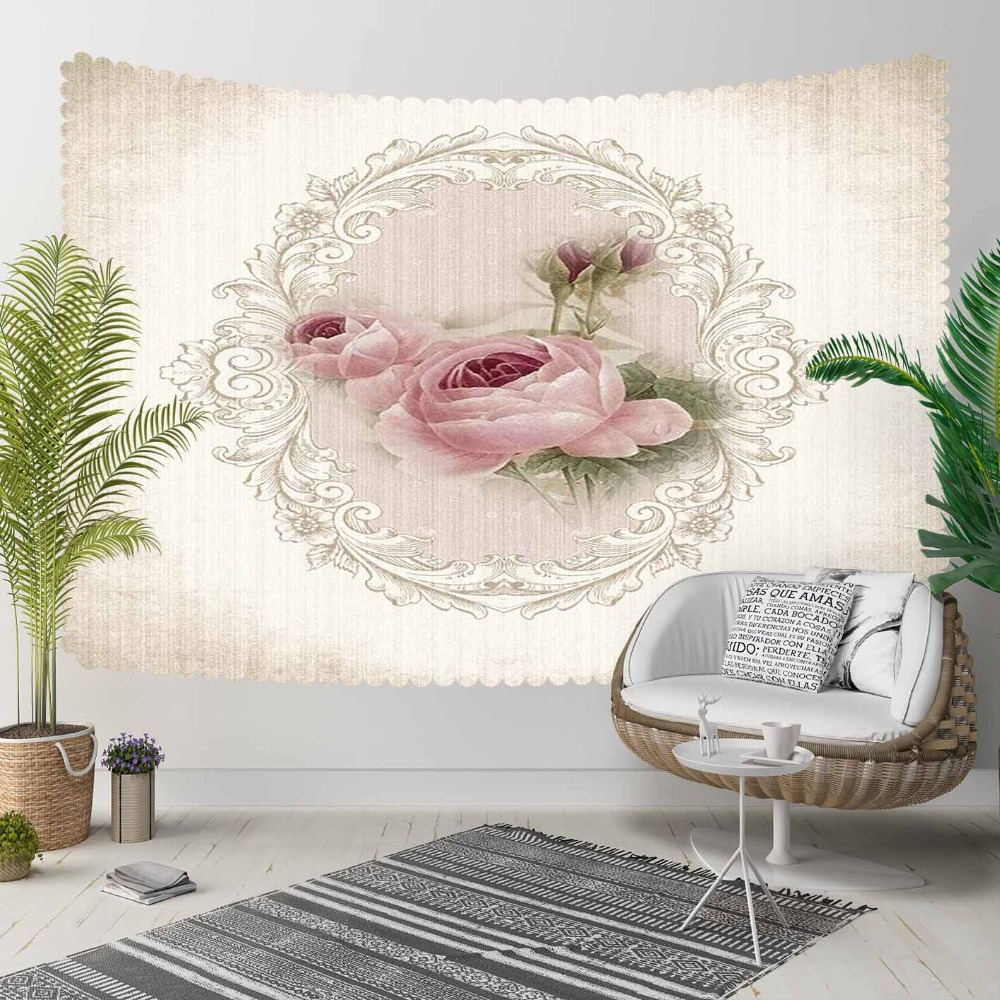Else Beige Floor Gray Vintage Pink Roses Flowers  3D Print Decorative Hippi Bohemian Wall Hanging Landscape Tapestry Wall Art
