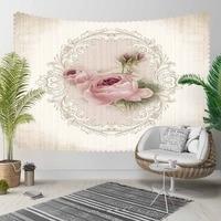 Else Beige Floor Gray Vintage Pink Roses Flowers  3D Print Decorative Hippi Bohemian Wall Hanging Landscape Tapestry Wall Art|Decorative Tapestries| |  -