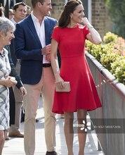 2018 New Kate Middleton Princess Women Dress Short Sleeve O-Neck Red Solid Dresses