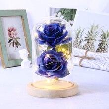 Светодиодный красивая Роза зверь Батарея красные цепочка цветов свет настольная лампа Романтический праздник день рождения девочек мать подарки домашнего декора