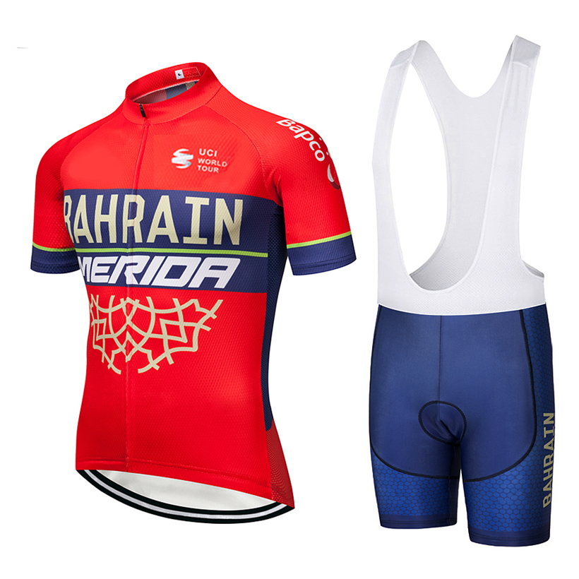 2019 TEAM BAHRAIN Cycling team jersey 9D padding bike pants suit mens summer quick dry pro BICYCLING shirts Maillot Culotte wear asgharali lulutal bahrain
