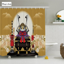 Shower Curtain Japanese Bathroom Accessories Antique Archer Helmet Arrow  Flowers Sunset Yellow Black 180*200