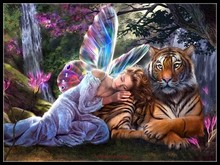 Fairy with Tiger   Counted Cross Stitch Kits   DIY Handmade Needlework for Embroidery 14 ct Cross Stitch Sets DMC Color