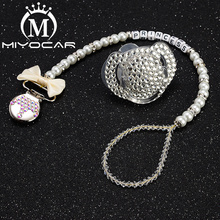 MIYOCAR custom name bling crown pacifier clip personalized holder dummy clii with set unique SP003