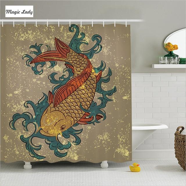 Fish Shower Curtain Fabric Bathroom Accessories Grunge Asian ...