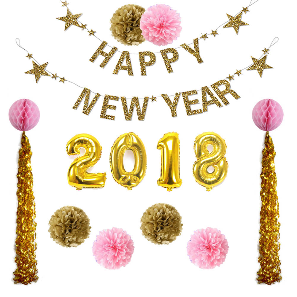 1set Happy New Year 2018 New Year Decoration Supplies ...