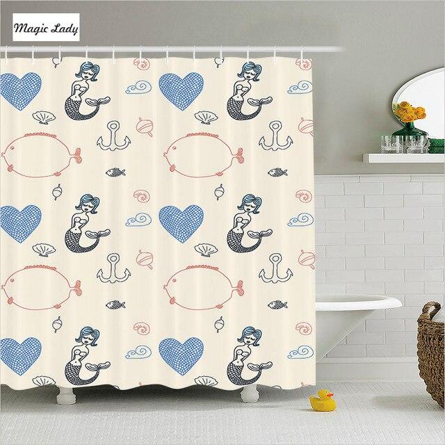 Shower Curtain Little Mermaid Bathroom Accessories Fish Heart Nautical  Anchor Ecru Orange Blue Black 180*