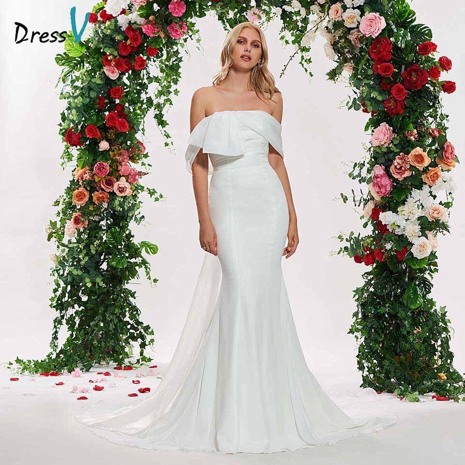 Dressv ivory strapless mermaid wedding dress sleeveless backless floor length trumpet simple bridal gonws dresses