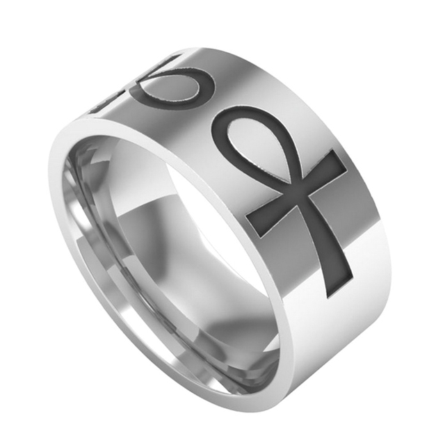 2018 New Fashion Separable Ankh Egyptian Cross Ring Personalized Silver Color Stainless Steel Wedding Bands Jewelry