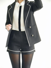 Korean Edition White Edge Skinny Temperament Fashion Two Sets Shorts Woman Office Lady Attractive suit
