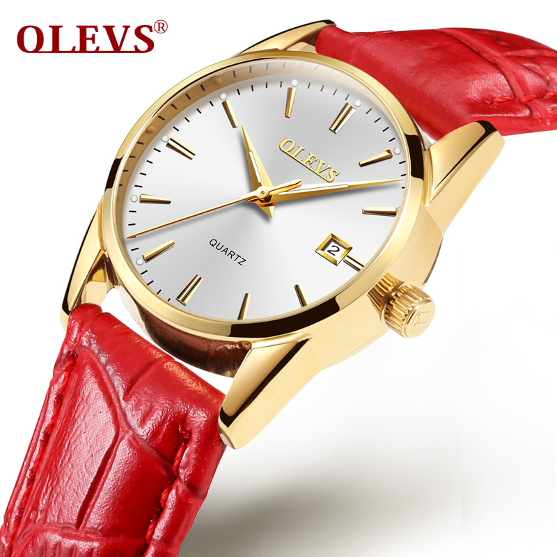 OLEVS Luxury Brand Watches Women Leather Quartz Watch  Rose Gold Clock Auto Date Water Resistant Sport Wristwatch relojes mujer starry sky space watch little star silicone watches kids sport quartz watch luxury brand hot boys girls watches relojes mujer
