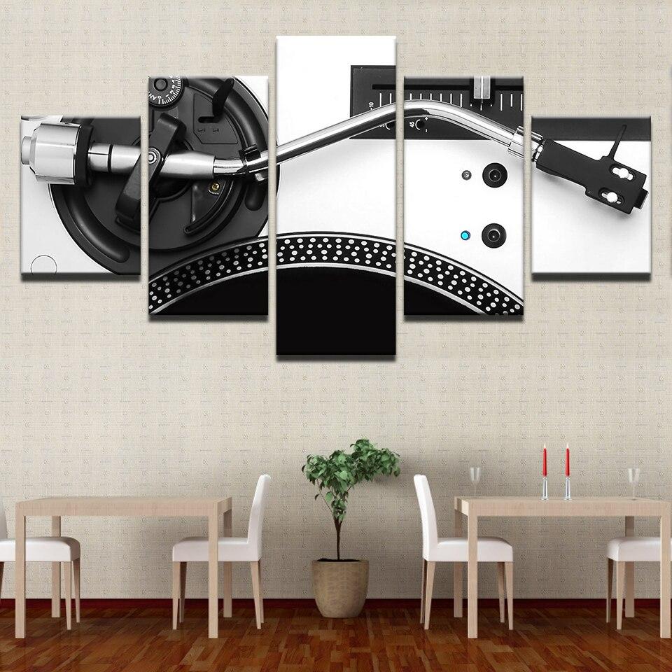 Tela HD Stampato 5 Pannelli Strumento Console Mixer DJ di Musica Poster Moderna Della Parete Della Casa di Arte Decorativa Pittura Immagini Modulari