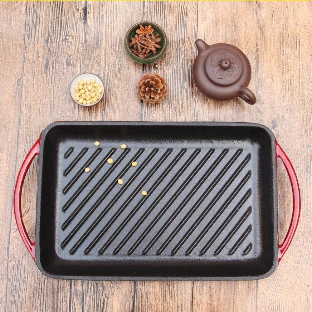 Steak frit spécial émail fonte casserole épaissie rayure ménage antiadhésif poêle électromagnétique four rôtissoire