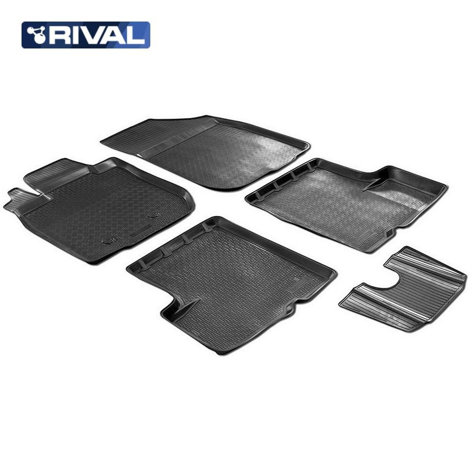 For Renault Sandero II 2014-2018 floor mats into saloon 5 pcs/set Rival 14703003 for renault duster 4wd 2010 2014 rubber floor mats into saloon 5 pcs set rival 64701002