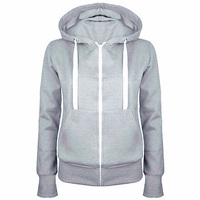 2017 Ladies Women Hoodies Sweatshirt Men Coat Top NEW 4 Colors Unisex Plain Zip Up Hooded