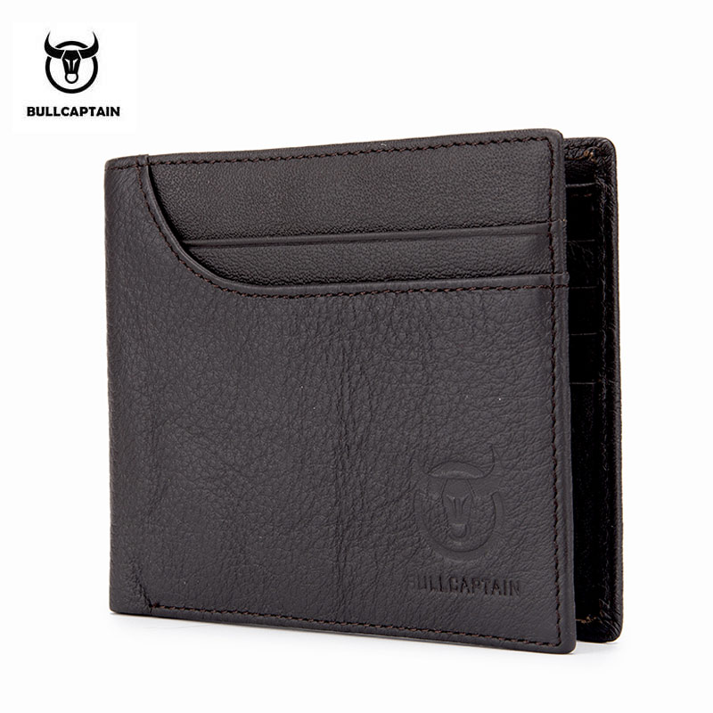 BULLCAPTAIN 100% Genuine Leather Wallet Fashion Short Bifold Men Wallet Casual Soild Male Wallets With Coin Pocket Purse цена