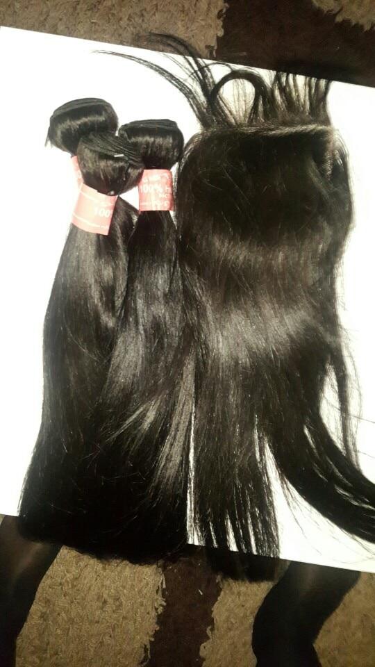 Satai Straight Hair Bundles With Closure Human Hair Bundles With Closure Brazilian Hair Weave Bundles Non Remy Hair Extension