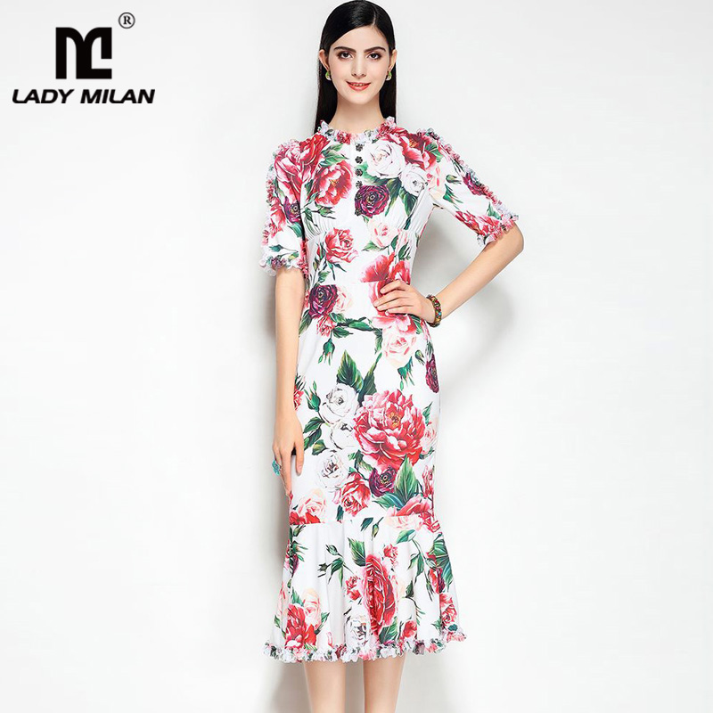 Lady Milan 2018 Ladies O Neck Short Sleeves Floral Printed Ruffles Fashion Designer Dresses Elegant Runway Dresses