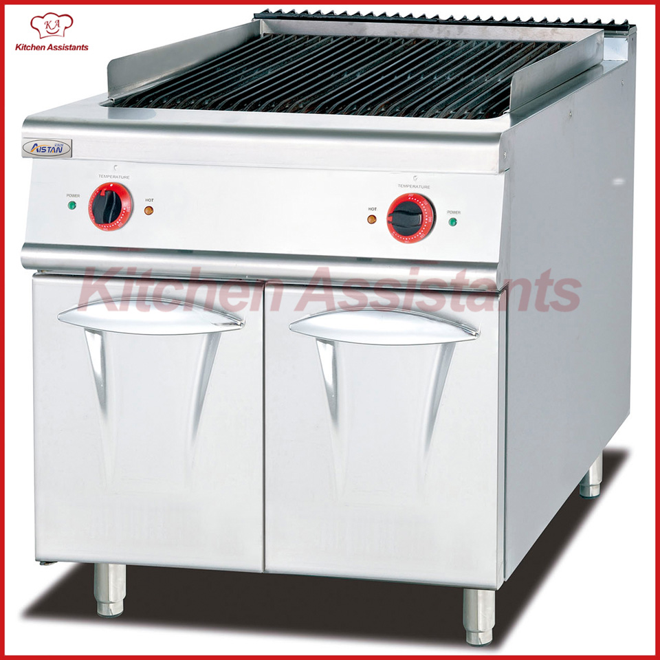 EH889 electric lava rock grill with cabinet of bbq equipment