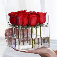 New Fashion Clear Acrylic Rose Flower Box Makeup Organizer Cosmetic Tools Holder Flower Gift Box For