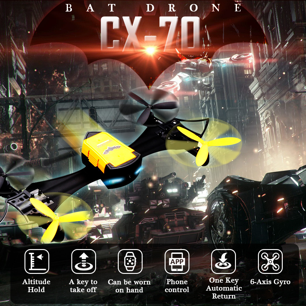 Cheerson CX-70 Bat Drone with WiFi FPV Camera Fashion Designed Selfie Drone Demountable Wearable G-Sensor RC Quadcopter Kids cheerson cx30w cx 30w fpv wifi smart remote control drone led rc helicopter quadcopter aircraft air plane toy kids gift toys