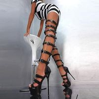 Moraima Snc Sexy Rome Style Gladiator Thigh High Sandal Boots Open Toe Buckle Strap Cutouts High Heel Over the Knee Boots Black