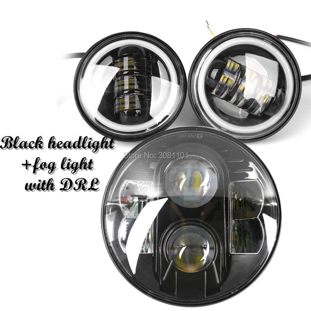 7 80 Вт проектор светодиодный фар + 4,5 Туман прохождения лампа с DRL для Harley Road King индийский вождь наследия Softail