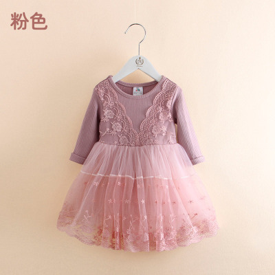 cf27fb844ae2 2018 Spring Baby Girls Fashion Lace Embroideried Dress Female Kids ...