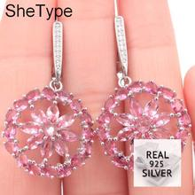 SheType 7.1g Deluxe Pink Tourmaline White CZ Gift Girls 925 Solid Sterling Silver Earrings 40x23mm