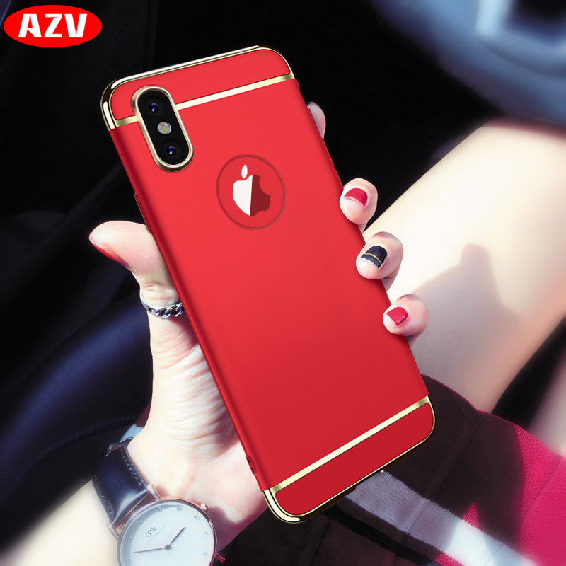 Galleria fotografica AZV Luxury Gold Hard Case For iphone 8 7 6 6S Back Cover Coverage Removable 3 In 1 Fundas Case For iphone 6 6s 7 8 Plus Bag