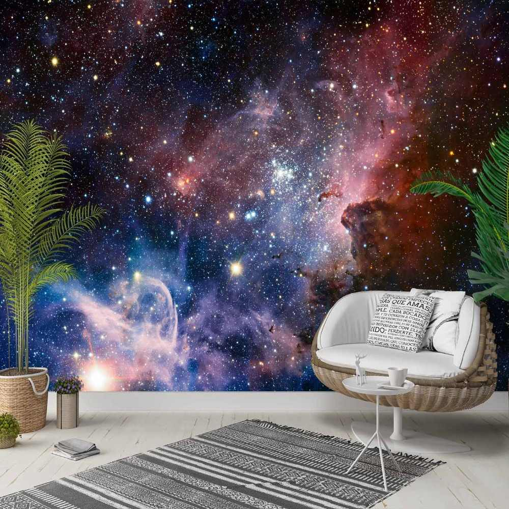 Else Blue Red  Sky Night Stars Space Galaxy 3d Photo Cleanable Fabric Mural Home Decor living Room Bedroom Background Wallpaper
