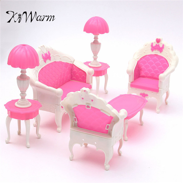 KiWarm 6Pcs Cute Pink Dollhouse Doll Furniture Playset Living Room ...