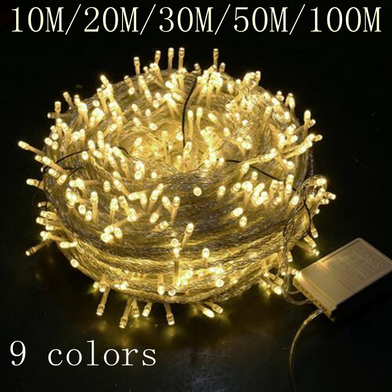 Waterproof Outdoor <font><b>Home</b></font> 10M 20M 30M 50M 100M LED Fairy String <font><b>Lights</b></font> Christmas Party Wedding Holiday <font><b>Decoration</b></font> Garland <font><b>light</b></font> image