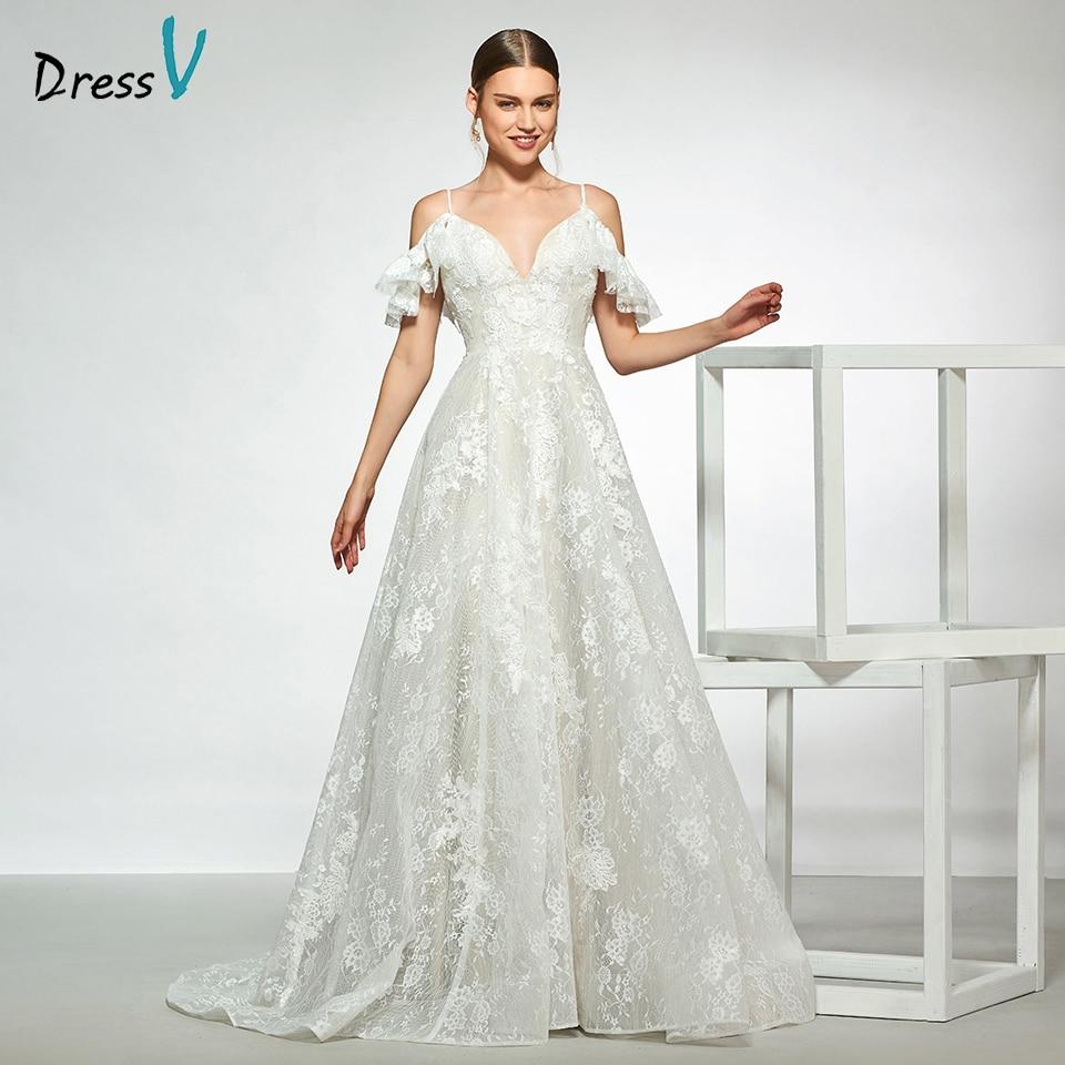 Dressv elegant spaghetti straps sleeveless lace wedding dress a line backless floor length simple bridal gowns wedding dress