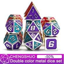Chengshuo двухцветные металлические кости dnd Набор Игральных кубиков rpg многогранные металлические d & d красный стол игры цинкового сплава цифровые подземелья и дракон d20