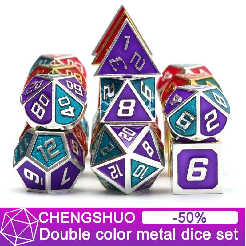 Conjuntos dice dice dnd rpg Chengshuo Dois-cor do metal poliédrico d & d vermelho jogos de mesa de metal de liga de Zinco masmorras e dragões d20 digital