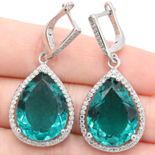 Big Drop Gemstone Rich Blue Aquamarine Natural White CZ Girls 925 Silver Earrings 43x19mm