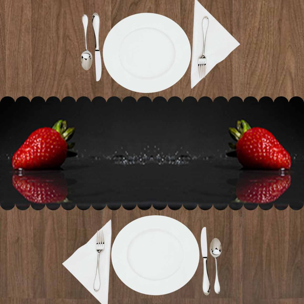 Else Black Floor On Red Strawberry Fruits Green Leaf 3d Print Pattern Modern Table Runner For Kitchen Dining Room Tablecloth