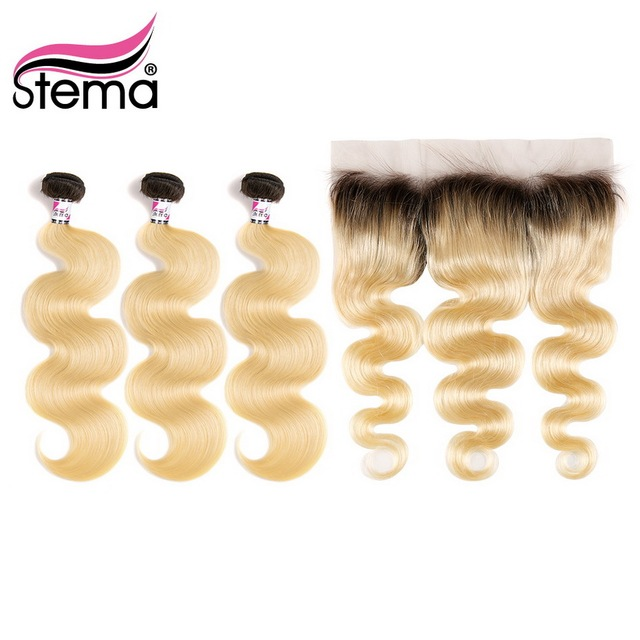 Stema 1b/613 Ombre Body Wave 3 Bundles with 13*4 Lace Frontal Closure Dark Root Blonde Brazilian Remy Human Hair Bundle Weaves