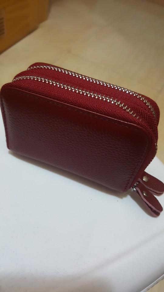 YaHe Genuine Leather Women Card Holder Double Zipper Wallets Bank ID Credit Card Case Coin Bags Driver License Cardholder Purses photo review