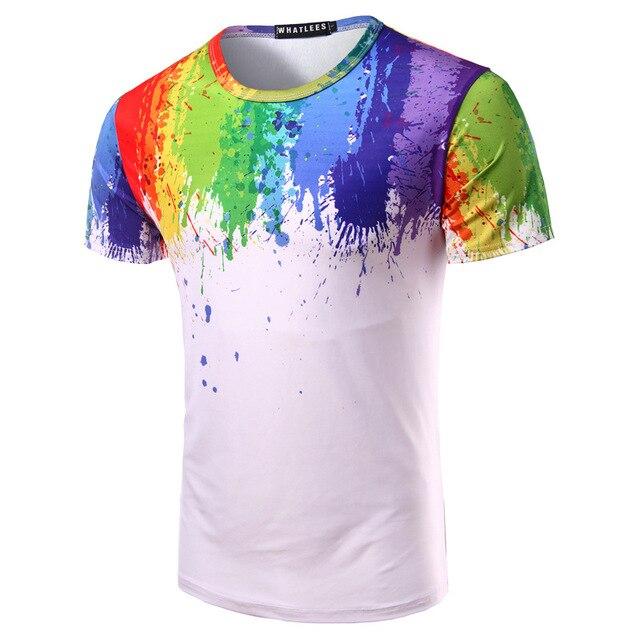 good quality man colorful rainbow painting 3D round collar short sleeve  bike jersey bike T shirt f71b0a6d4