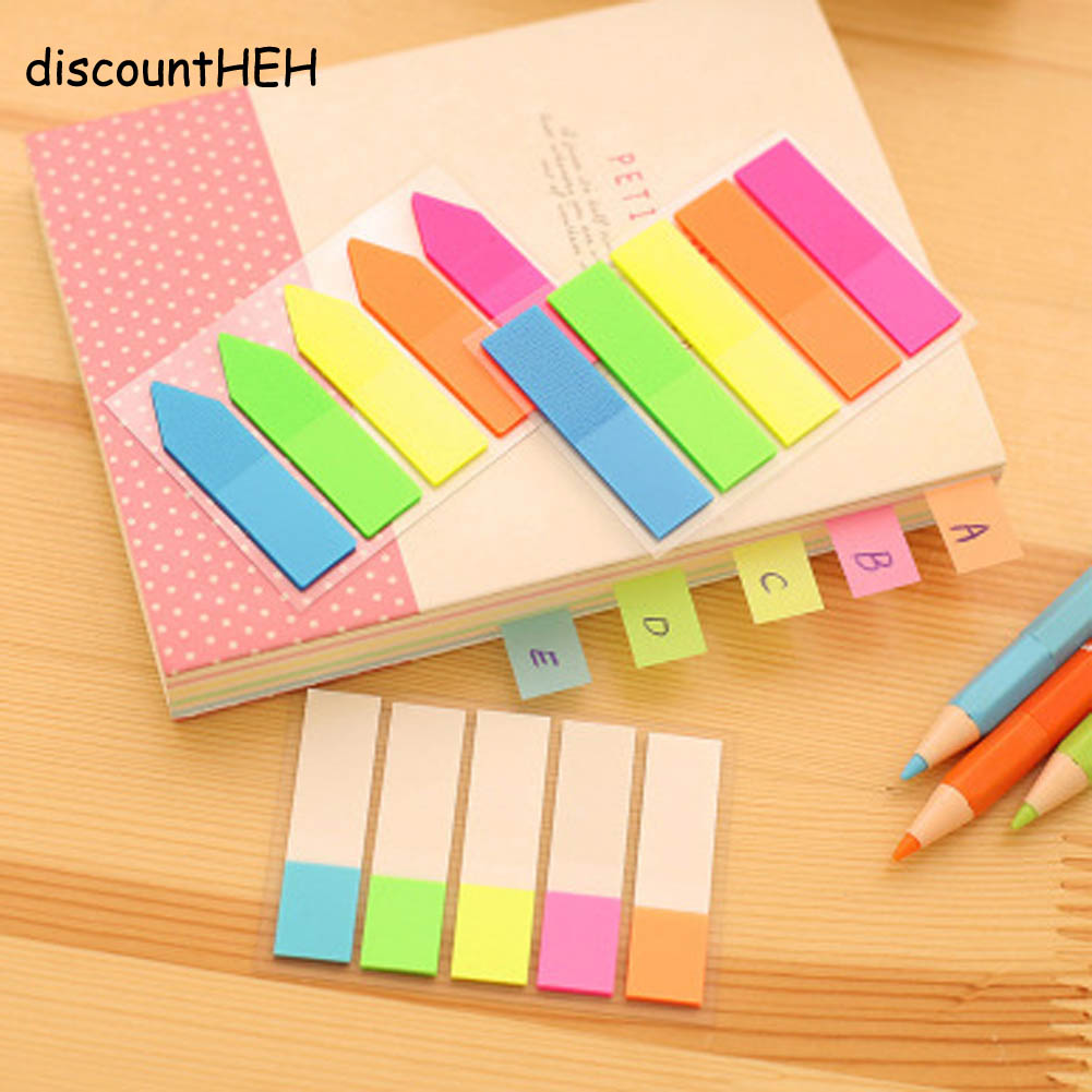 Cute Kawaii PET Memo Pad Notepad Stationery Sticker Fluorescent Post It Sticky Notes Office School Supplies 5 Colors!!!
