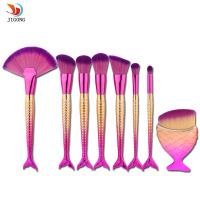 8Pcs Mermaid Shaped Makeup Brush Set Big Fish Tail Foundation Powder Eyeshadow Make Up Brushes Contour