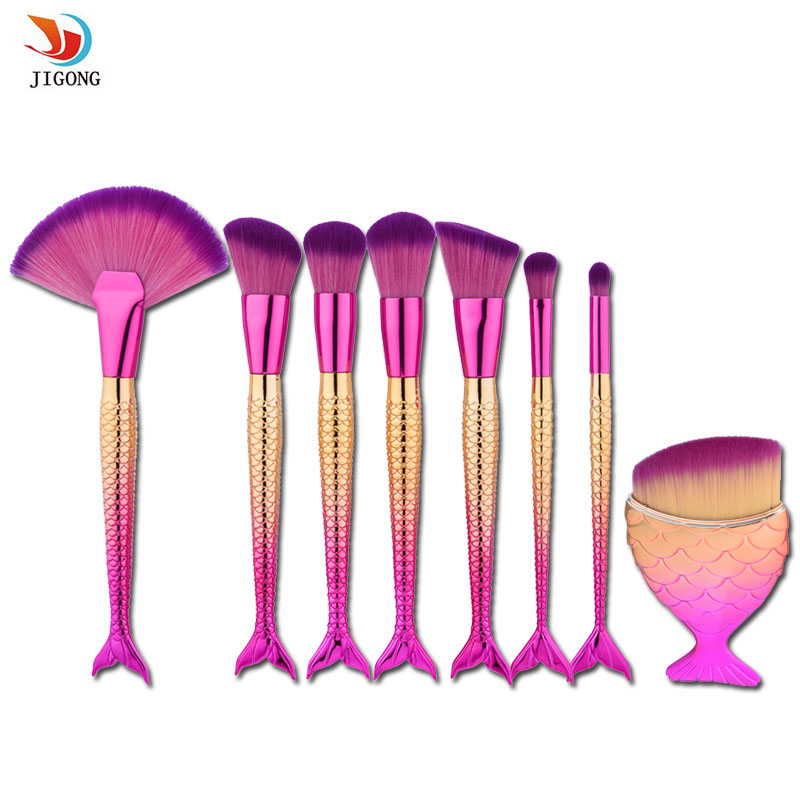 8pcs mermaid shaped makeup brush set big fish tail