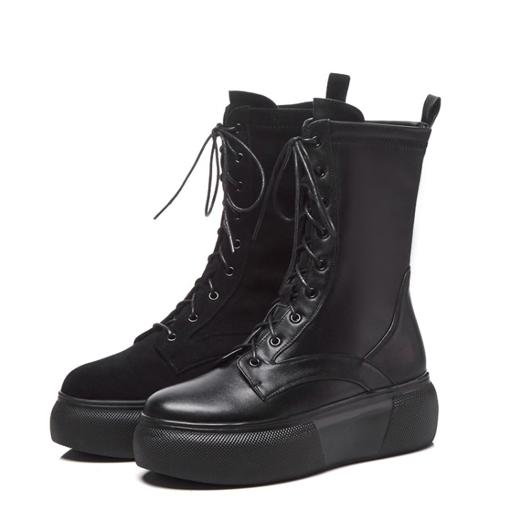 Up Plüsch Winter black Mljuese Black Lace Martin Short Pelz 1 Leder Stiefel 2019 2 Kuh Frauen Warme kalb Plattform Mid Fg6w1Pq