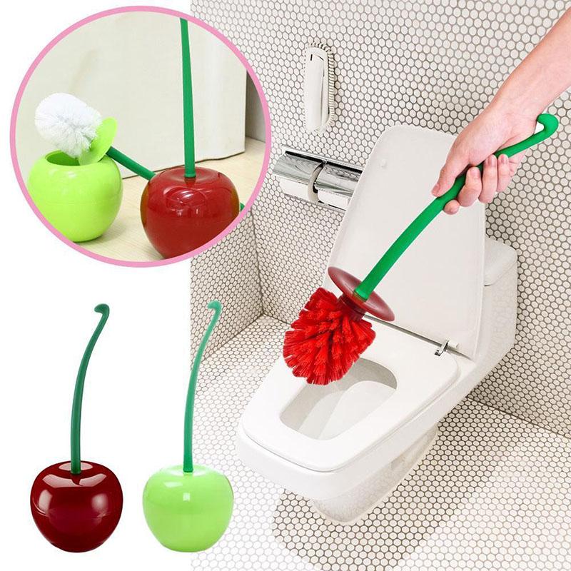 Cherry Shaped Toilet Brush Holder Set Bathroom Cleaning Kit Cleaner Creative Lovely Lavatory Brush Toilet cleaning (9)