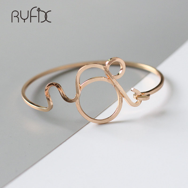 2018 Simple Geometry Open Bracelets Stainless Steel Hollow Out Cuff Cute Bracelet Pulseira Feminina Braslet For WomenYS33