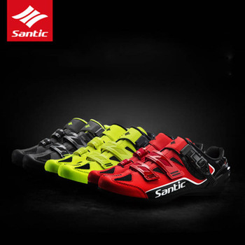 Santic Men Cycling Shoes Breathable Outdoor Zapatillas Ciclismo Professional Road Bicycle Shoes Non-Slip No-Lock Bike Shoes 8005